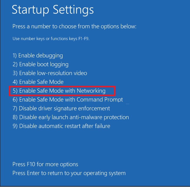 Choose Enable Safe Mode with Networking to fix Blue Screen of Death error