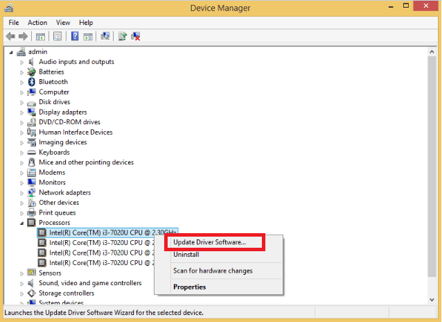 Click on CPU device option and choose the Update Driver Software option