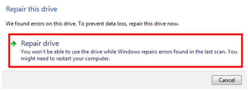 Click on Repair drive to scan the drive