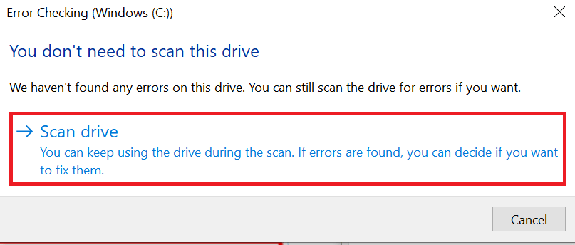 Click on the Scan drive button to scan your drive