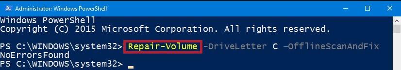 Type repair-volume-drive letter