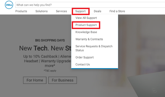Choose product support from dell support