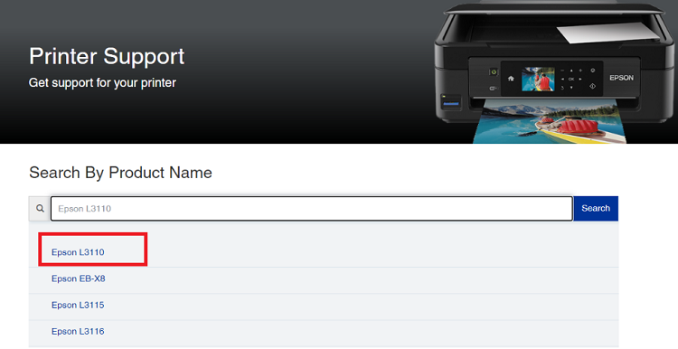 search for Epson L3110 product