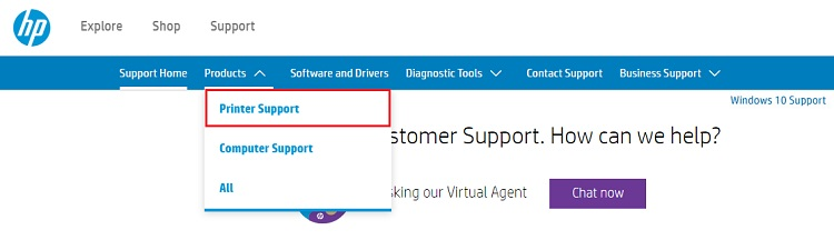 Choose printer support from HP official site