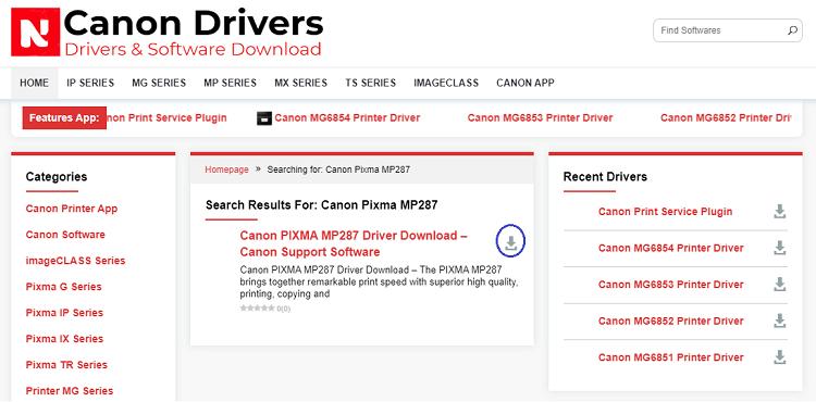 click on download icon for Canon Pixma MP287 driver