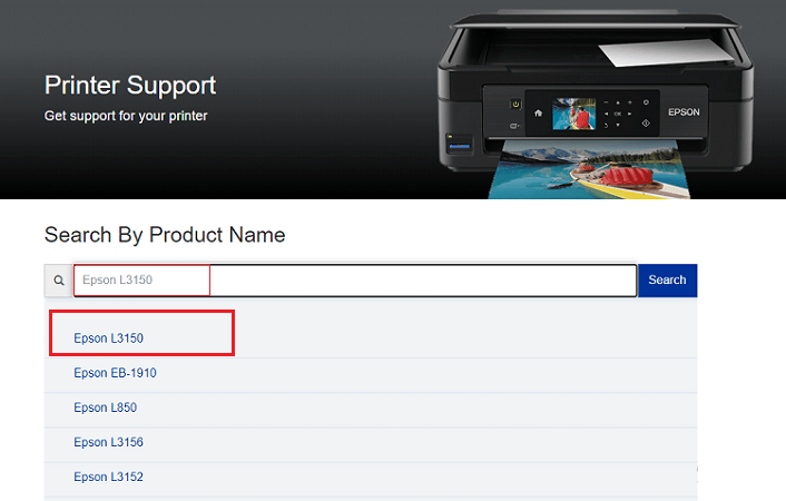 search for Epson L3150 product
