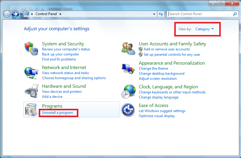 Click on Uninstall a program from control panel