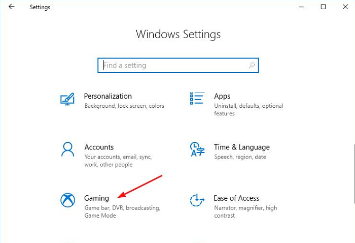 Click on gaming from windows settings
