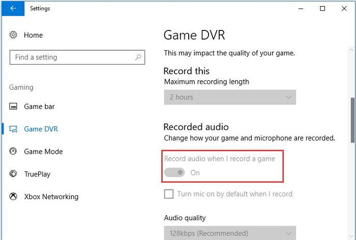 turn off record audio when I record a game