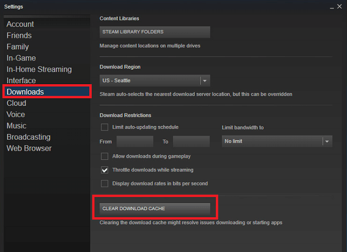 clear download cache from download tab in steam application