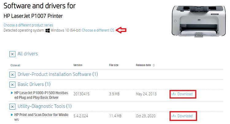 choose operating system and download HP LaserJet P1007 printer driver software