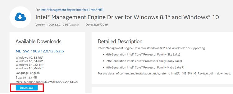 Download Intel Management Engine Interface-IMEI-driver