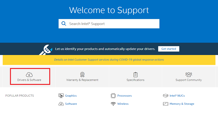 Drivers & Software option from intel's support website