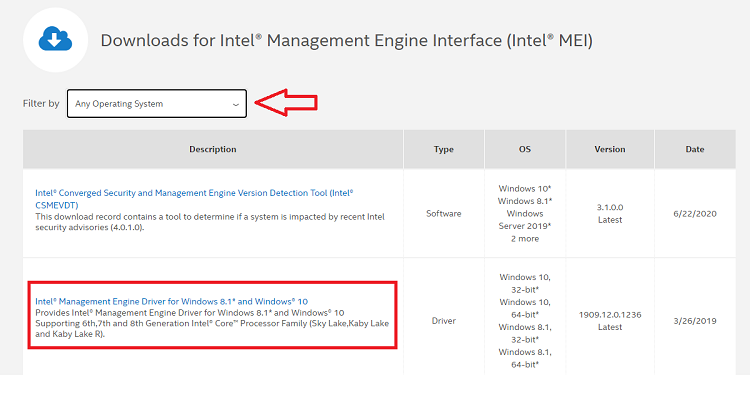 Intel Management Engine driver for Windows