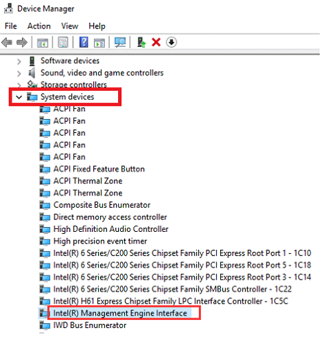 Intel Management Engine Interface from device manager