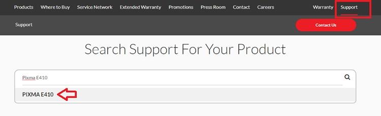 search product PIXMA E410
