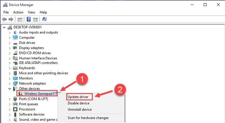 right-click on the Logitech Wireless Gamepad F710 afterward click on Update Driver option