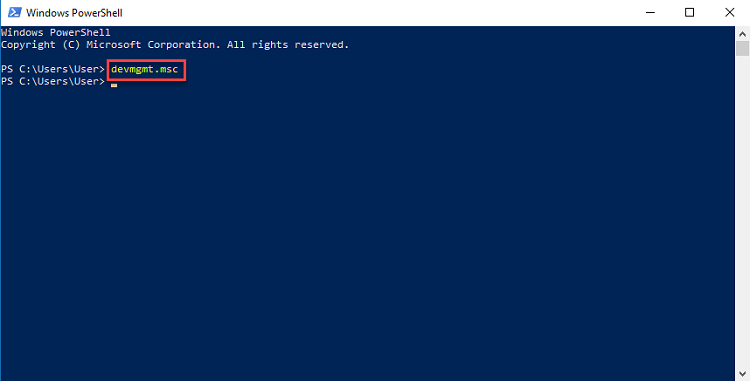 devmgmt.msc in windows powershell