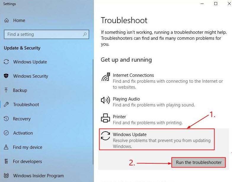 Run the Troubleshooter for Windows Update