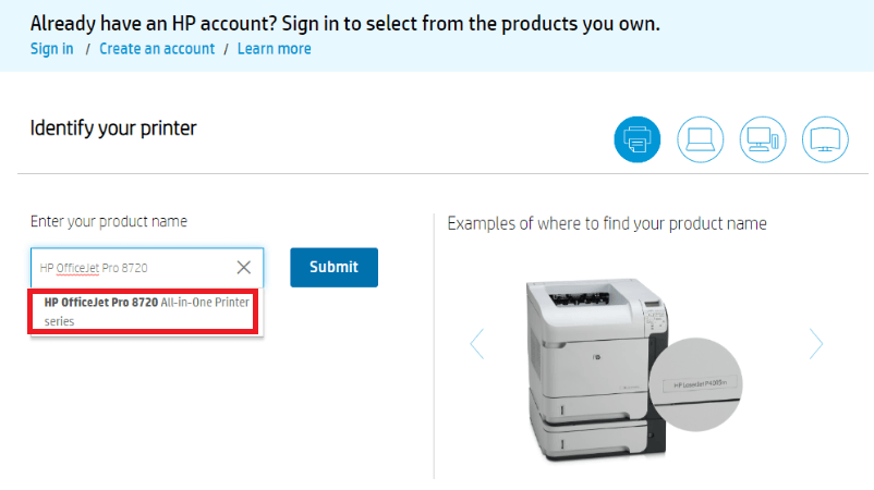 Type HP OfficeJet Pro 8720 in the Search Box