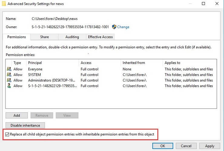 Check Box to Replace All Child Object Permission Entries with Inheritable Permission entires from this Object