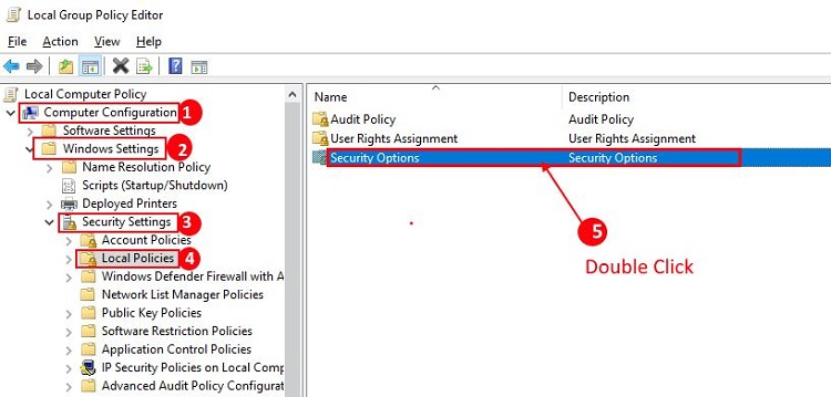 Double Click on Security Options from Local Group Policy Editor