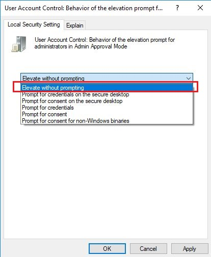 Select Elevate with Prompting Local Security Setting Tab
