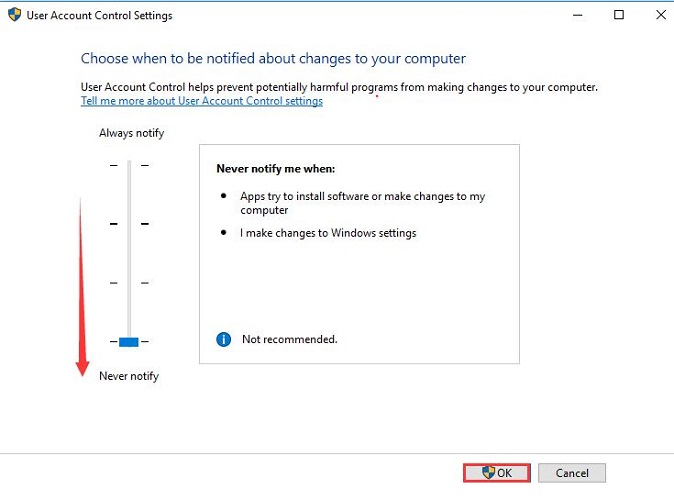 Set Slider at Never Notify in UAC Window