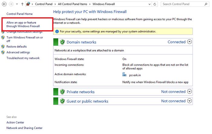 Click on Allow an App or Feature through Windows Firewall