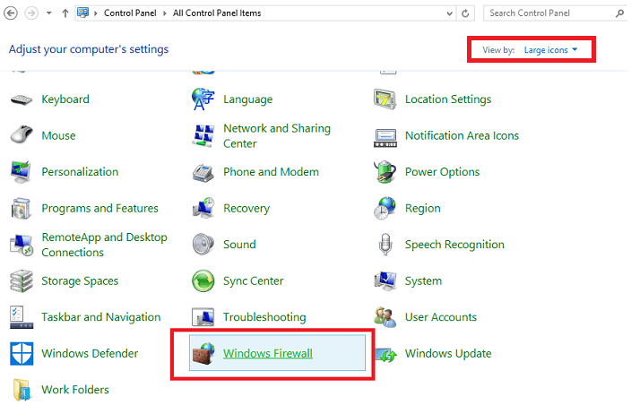 Set View By Large Icons and Click on Windows Firewall Option