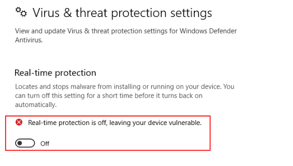 Real-Time Protection Turned Off
