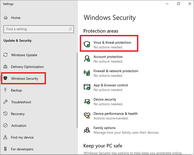 Virus & Threat Protection from Windows Security Tab