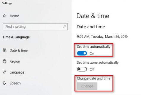 Set Time Automatically & Change Date and Time