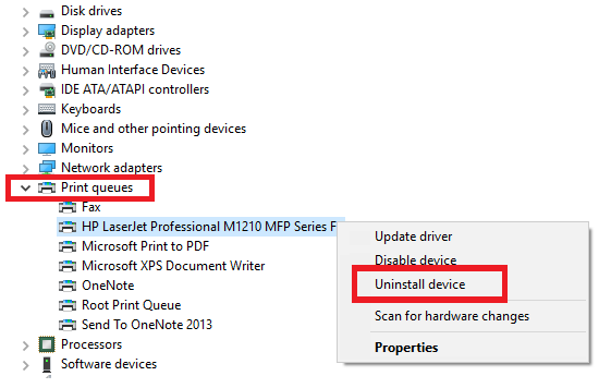 Uninstall device from printer queues