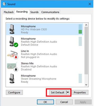 Set Default Microphone Device