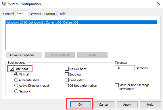 Check Mark on Safe boot Option from System Configuration