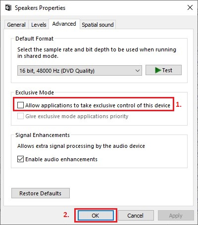 Uncheck Allow application to take exclusive control of this device box