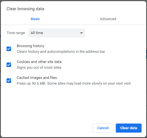 clear data from clear browsing data option