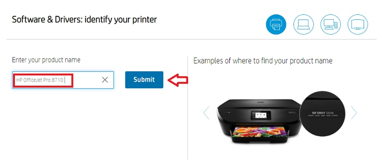Search HP OfficeJet Pro 8710 for Driver