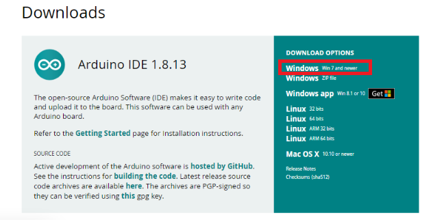 Select Operating System for Arduino IDE software