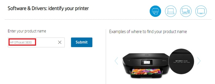 enter product name HP OfficeJet 3830 for search driver
