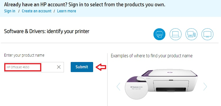 Type for HP officeJet 4650 in Search Box