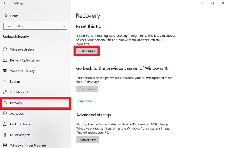 get started reset this pc from recovery tab