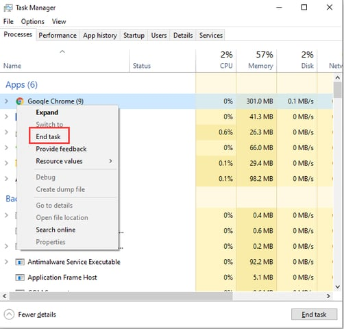 end task application from task manager