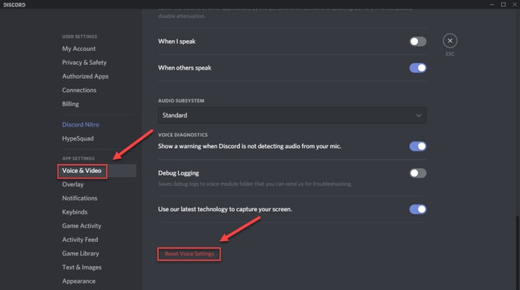 reset discord voice setting