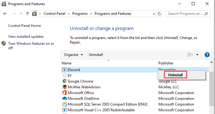 uninstall discord application from pc