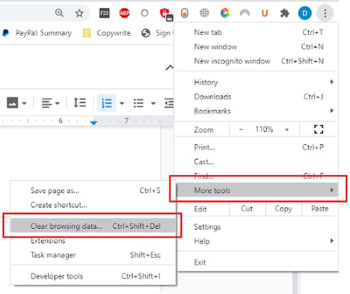 clear browsing data under more tool in google chrome options