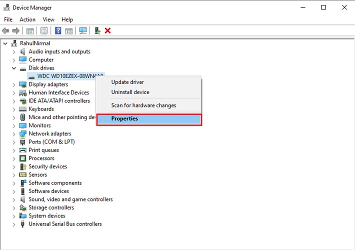 right click on disk drive and click on properties