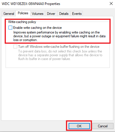 uncheck Enable Write Caching on the Device feature