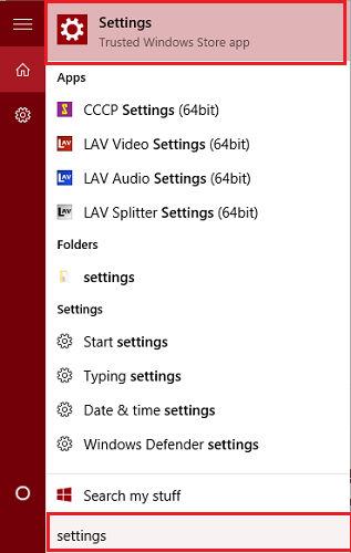 type settings in start menu